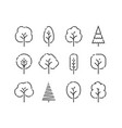 tree icons set nature concept in linear style vector image