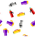 vacuum flasks and bottles seamless pattern vector image