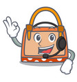 with headphone hand bag mascot cartoon vector image vector image