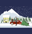 woman and a man go with gifts to a country house vector image