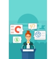 Woman speaking on podium vector image vector image