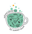 card design with hand drawn tea vector image