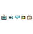 tv set icon set flat style vector image