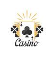 casino logo vintage gambling badge or emblem with vector image