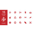15 planet icons vector image vector image