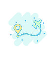 airplane flight route icon in comic style travel vector image