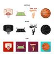 basketball and attributes cartoonblackflat icons vector image vector image