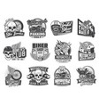 biker and motorcycle races icons skull and wings vector image vector image