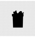 black silhouette of bow wrapped present on vector image vector image