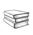 book stack study literature monochrome vector image vector image