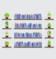 Bookshelf With Pot Plant On Wall vector image vector image