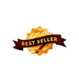 bright golden badge with brown tape glossy best vector image