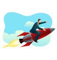 businessman on a rocket vector image
