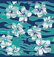 camouflage wave wallpaper with hibiscus flower vector image vector image