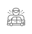 car was stopped by policeman racing car line icon vector image