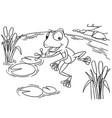 cartoon frog at lake coloring page vector image