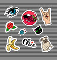 Cartoon quirky colorful stickers set
