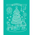 Christmas tree Santa Claus outline vector image vector image