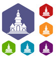 church icons set vector image