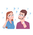 confused man and woman young couple thinking a vector image
