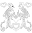 couple exotic tropical bird sitting on heart vector image vector image