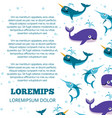 cute ocean animals poster design vector image vector image
