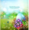 easter card with colorful eggs and vector image