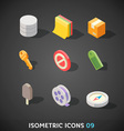 Flat Isometric Icons Set 9 vector image vector image