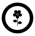 flower icon black color in circle vector image