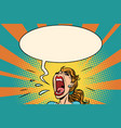 girl pop art screams in panic vector image vector image
