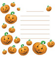 greeting card with halloween pumpkins vector image vector image