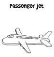 Hand draw of passenger jet vector image
