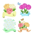 Hand drawn floral compositions with ribbons vector image vector image