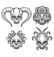 hand drawn monsters skull set vector image vector image