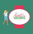 happy holidays poster woman celebrate xmas party vector image vector image