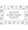 happy new year party outline horizontal vector image