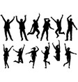 happy people silhouettes isolated vector image vector image