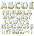 inflatable alphabet numbers signs with balls vector image vector image