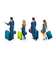 isometric set of beautiful business people and bus vector image