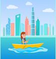 kayaking girl sitting in boat holding oar vector image
