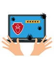 laptop with anti virus protection vector image vector image