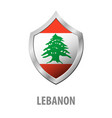 lebanon flag on metal shiny shield vector image
