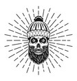 lumberjack skull in knitted hat with rays vector image vector image