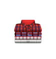 mens checkered shirts in stack realistic vector image vector image