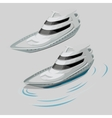 modern white motor boat and silhouette wave vector image vector image