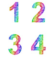 Rainbow sketch font set - numbers 1 2 3 4 vector image vector image