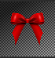 realistic shiny red satin bow isolated vector image