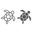 Sea turtle line and glyph icon animal