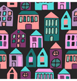 Seamless pattern with cartoon houses vector image