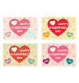 set happy valentines day colored greeting cards vector image